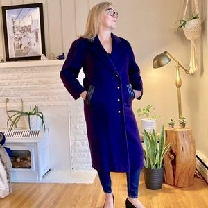 Vintage Royal Purple Wool Coat With Leather Detail
